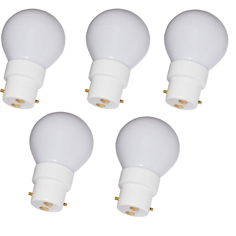 lot de 5 ampoules sph riques led 0 5w 11lm b22 2600k leroy merlin. Black Bedroom Furniture Sets. Home Design Ideas