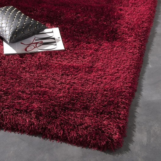 Tapis bordeaux shaggy polaris x cm leroy merlin - Tapis shaggy bordeaux ...
