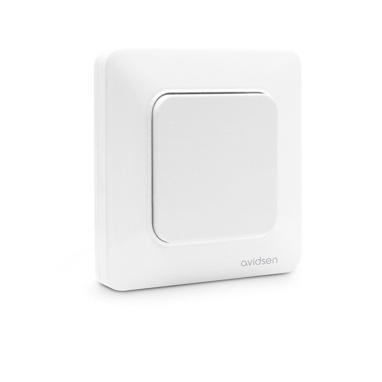 interrupteur connect blanc 1 bouton sans pile sans fil enocean avidsen leroy merlin. Black Bedroom Furniture Sets. Home Design Ideas