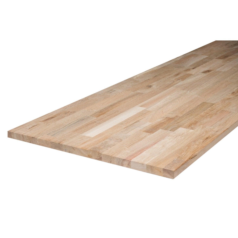 Plan De Travail En Chene Massif plan de travail bois chêne brut mat l.200 x p.65 cm, ep.26 mm