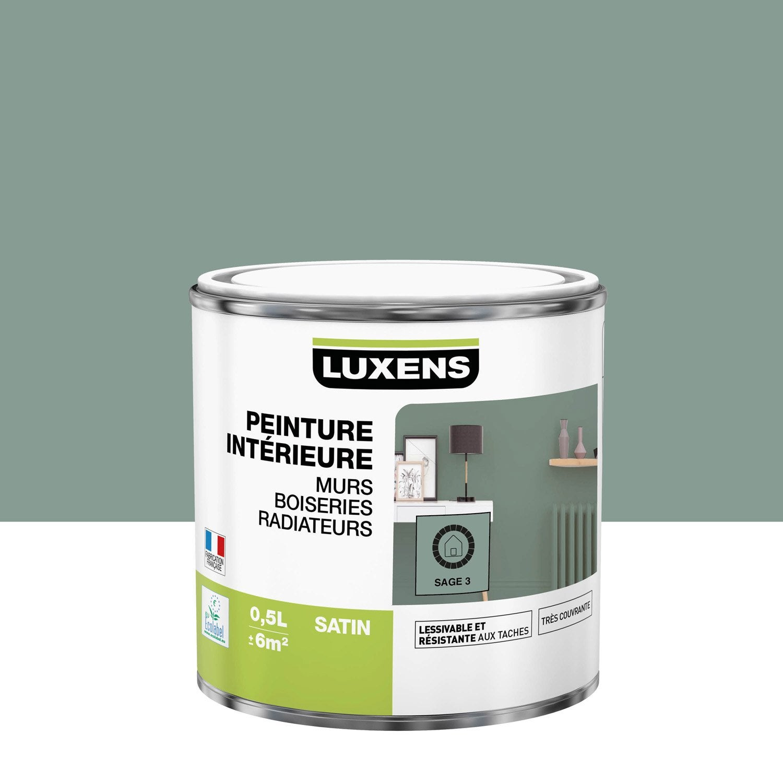 Peinture mur, boiserie, radiateur Multisupports LUXENS, sage 3, 0.5 l, satin
