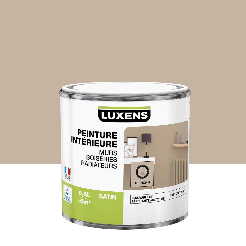 Peinture, mur, boiserie, radiateur, Multisupports LUXENS, trench 5, satin, 0.5 l