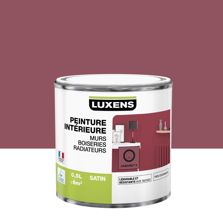 Peinture mur, boiserie, radiateur Multisupports LUXENS, cabaret 3, 0.5 l, satin