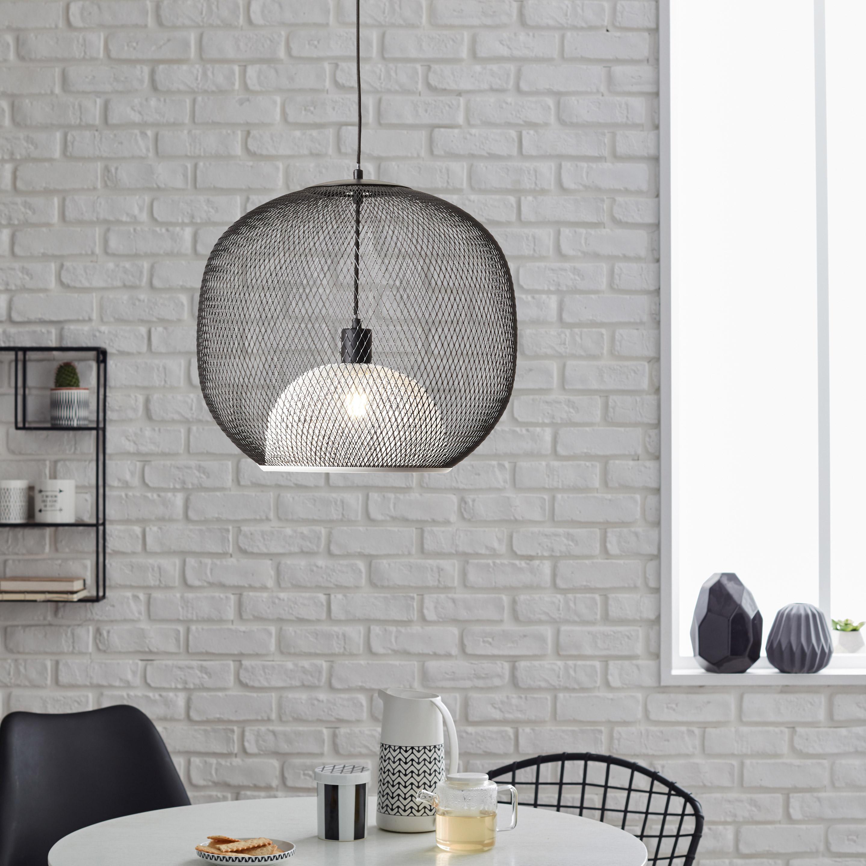 Suspension, E27 style industriel ASHLEY métal noir et blanc BRILLIANT