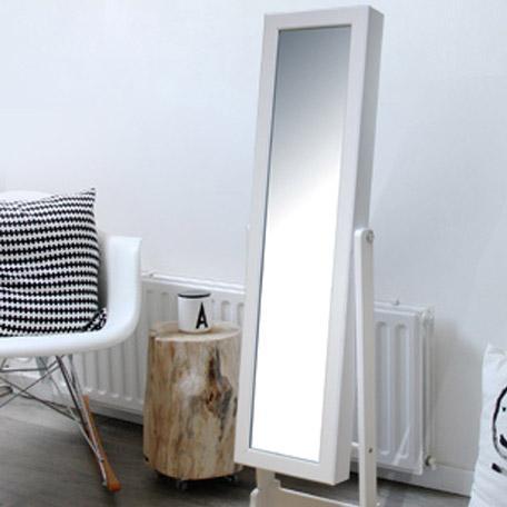 Miroir rectangulaire Psyché bijoux, blanc, l.37 x H.145 cm