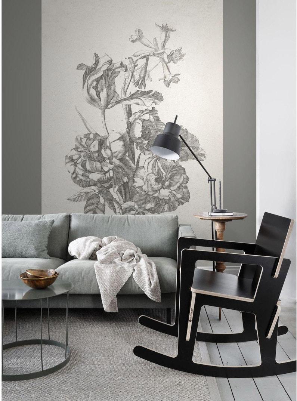 Papier Peint Motif Nature papier peint photowalls fleurs noir & blanc intissé esta l.186 x h.279 cm