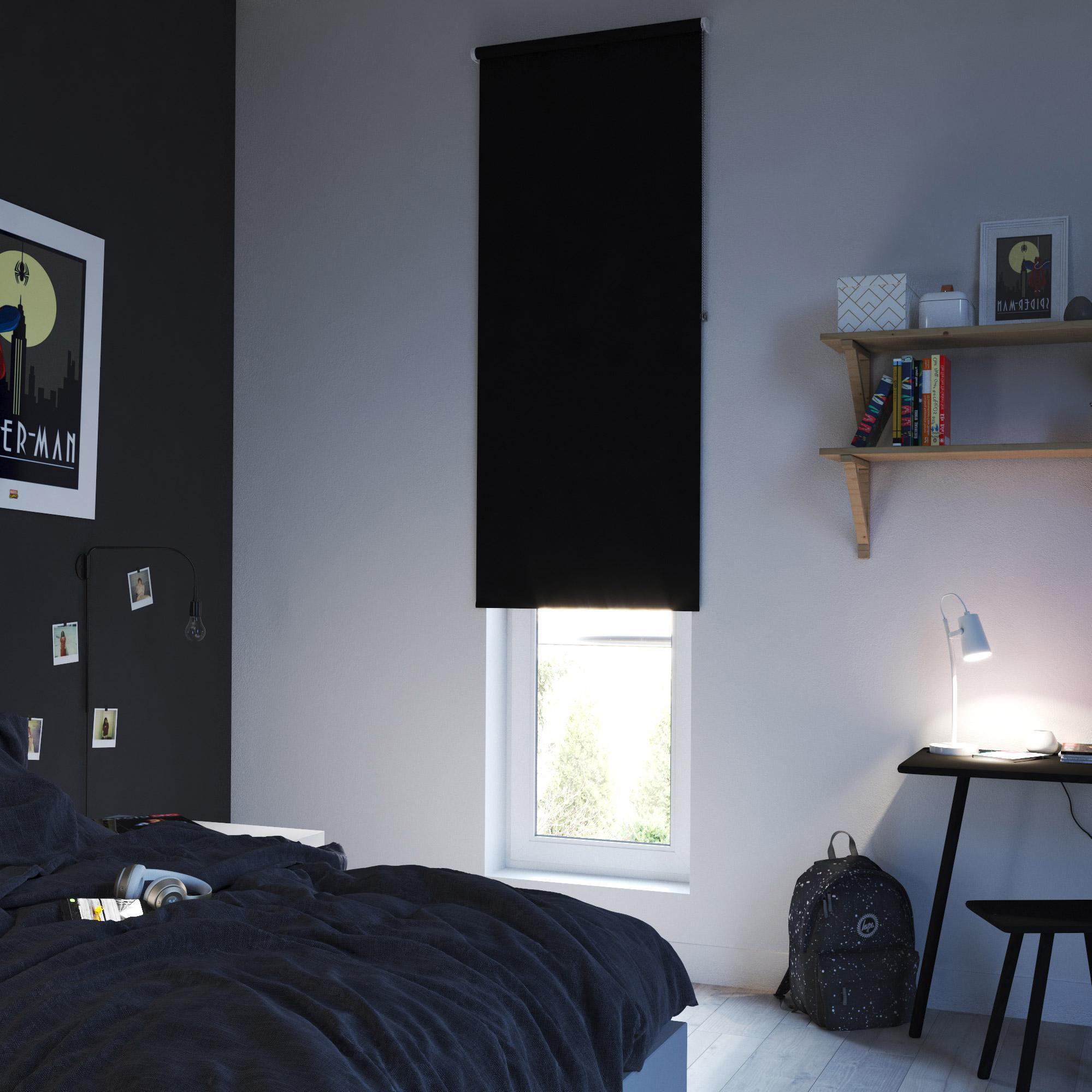 Store enrouleur occultant, noir Séoul, l.75 x H.250 cm