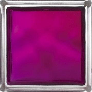 Brique de verre, violet ondulé brillant