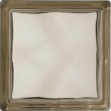 Brique de verre, bronze ondulé brillant