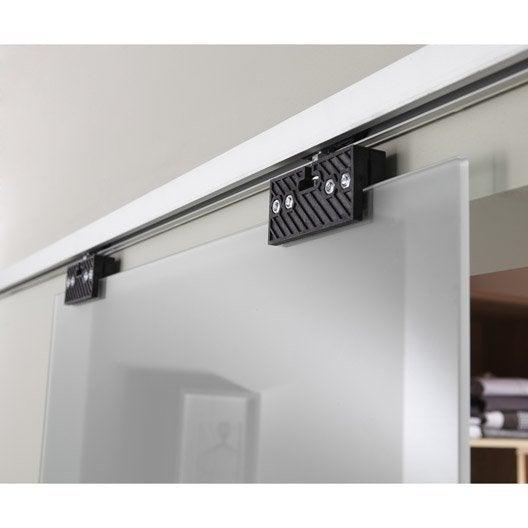 rail coulissant et habillage aluminium anodis porte de largeur 83 cm maxi leroy merlin. Black Bedroom Furniture Sets. Home Design Ideas