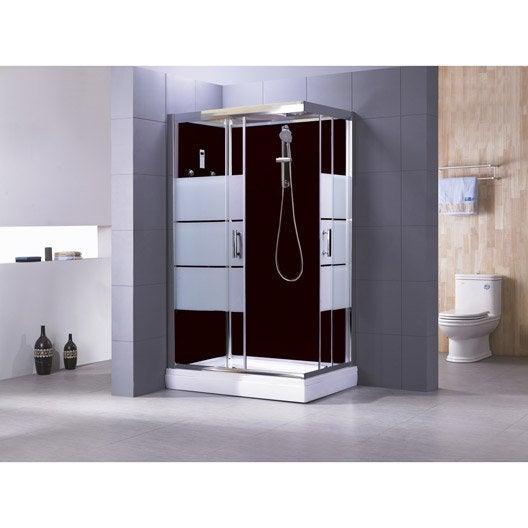 Cabine de douche rectangulaire 120x80 cm optima2 noire - Baignoires douches leroy merlin ...