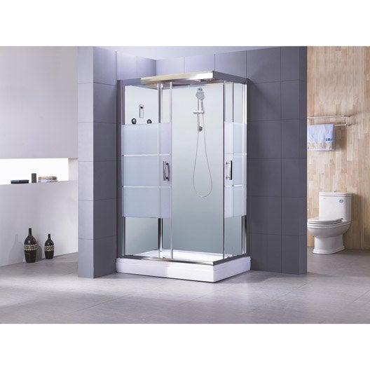 cabine de douche rectangulaire 120x80 cm, optima2 blanche | leroy