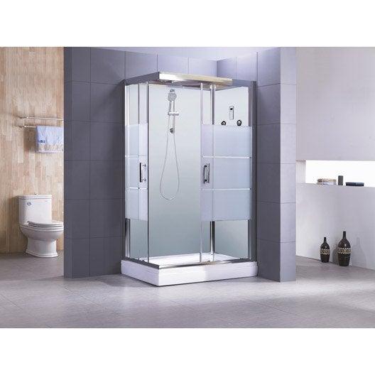 Cabine de douche rectangulaire 120x80 cm optima2 blanche for Salle de bain avec cabine de douche