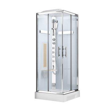 Cabine de douche Ilia chêne hydromassante thermostatique carré 90x90cm