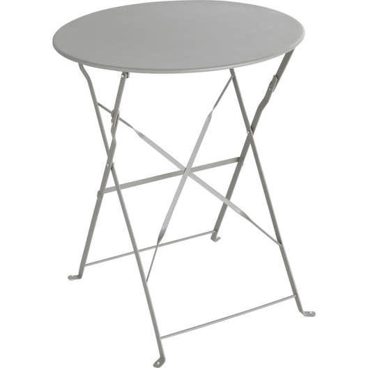 table de jardin naterial flore ronde gris 2 personnes leroy merlin. Black Bedroom Furniture Sets. Home Design Ideas