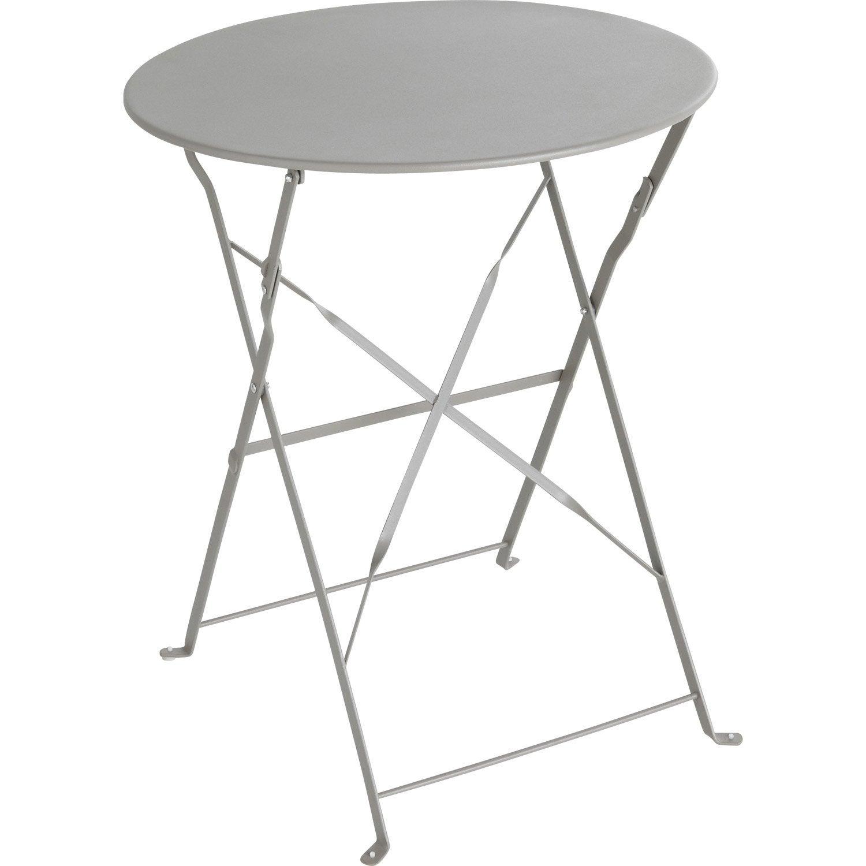 table de jardin naterial flore ronde gris 2 personnes - Table Ronde Jardin