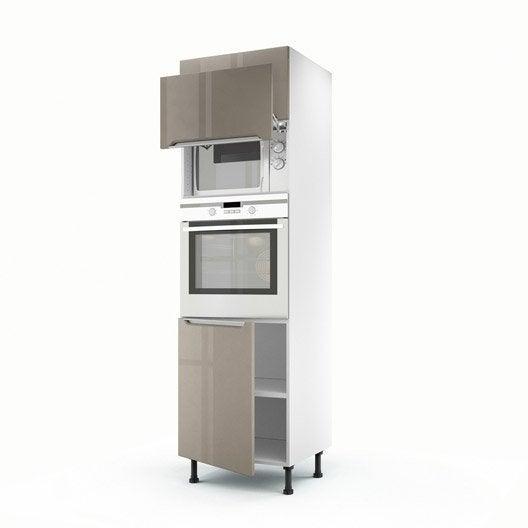 awesome meuble de cuisine colonne taupe portes milano h x. Black Bedroom Furniture Sets. Home Design Ideas