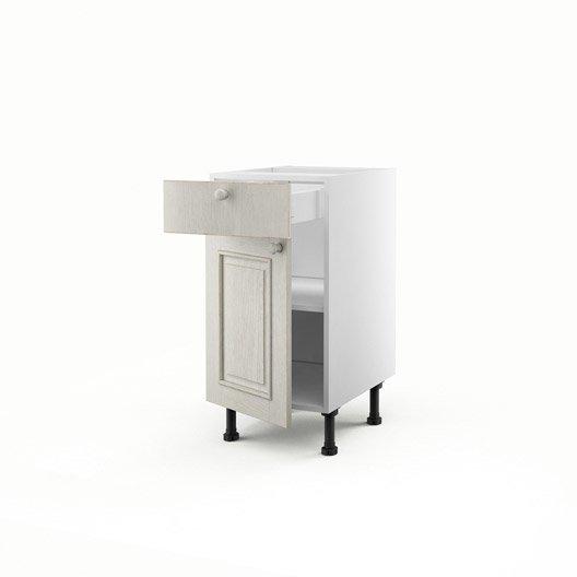Meuble de cuisine bas blanc 1 porte 1 tiroir cosy x for Meuble bas cuisine profondeur 40 cm