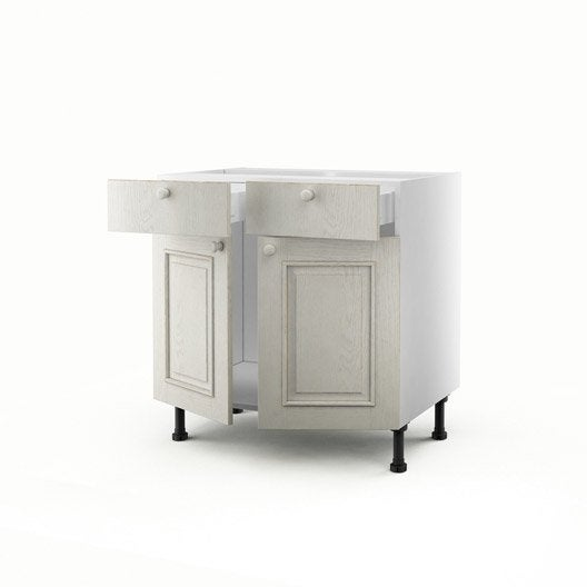 meuble de cuisine bas blanc 2 portes 2 tiroirs cosy x x cm leroy merlin. Black Bedroom Furniture Sets. Home Design Ideas