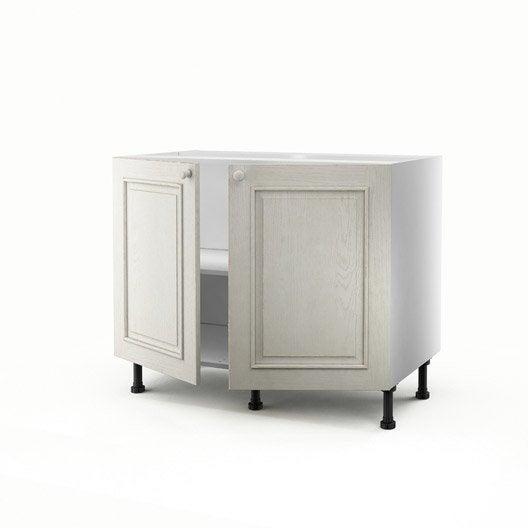 Meuble de cuisine bas blanc 2 portes cosy x x p for Meuble cuisine hauteur 70 cm