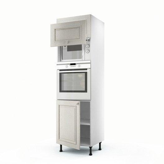Meuble de cuisine colonne blanc 3 portes cosy x - Meuble colonne cuisine 60 cm ...