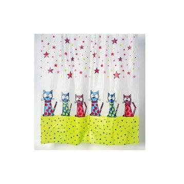 Rideau de douche en plastique l.180 x H.200 cm transparent, Chat étoiles SENSEA
