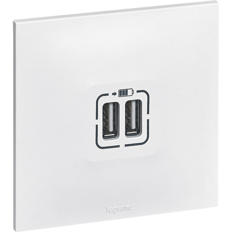Prise Chargeur Double Usb Neptune Blanc Legrand