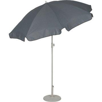 Parasol droit gris rond, L.180 x l.180 cm