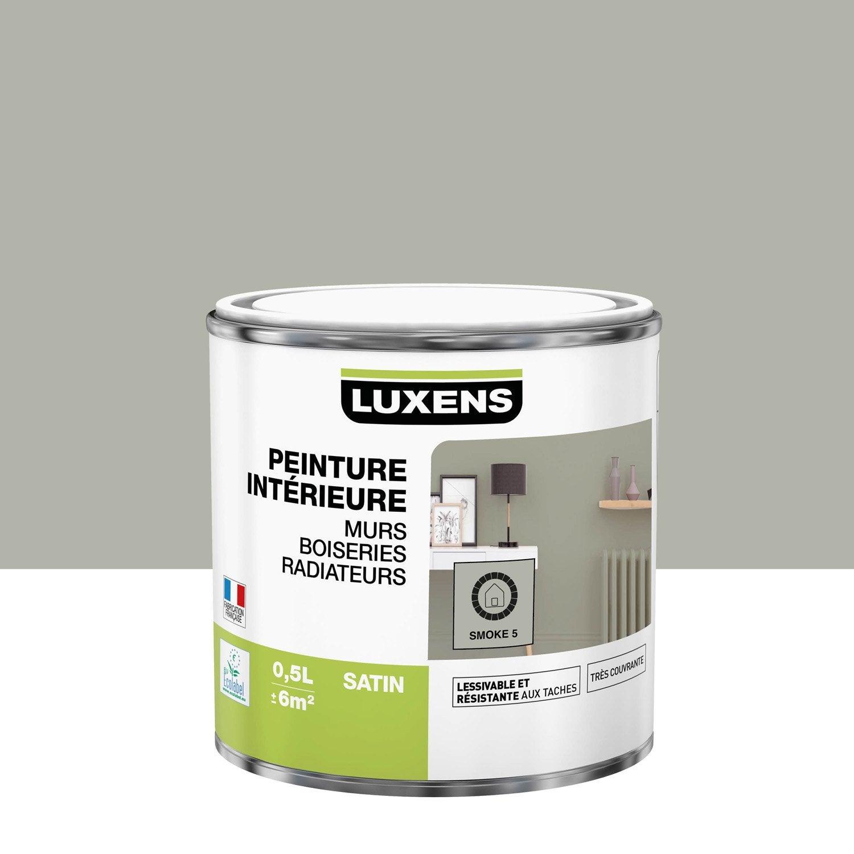 Peinture mur, boiserie, radiateur Multisupports LUXENS, smoke 5, 0.5 l, satin