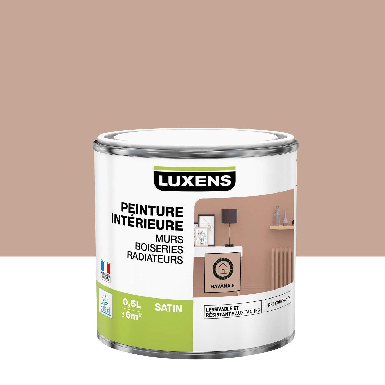 Peinture, mur, boiserie, radiateur, Multisupports LUXENS, havana 5, satin, 0.5 l