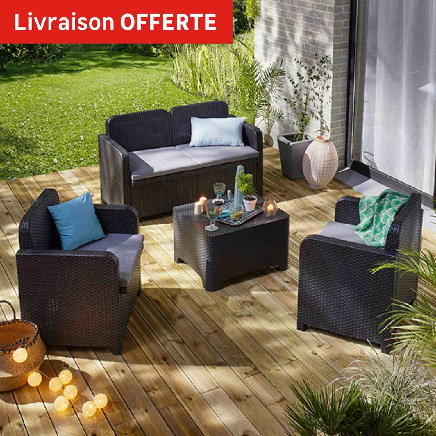 Salon bas de jardin sorrento r sine inject e anthracite 4 for Salon de jardin bas