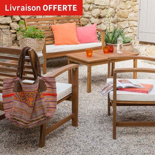Salon bas de jardin Porto bois marron, 4 personnes | Leroy Merlin
