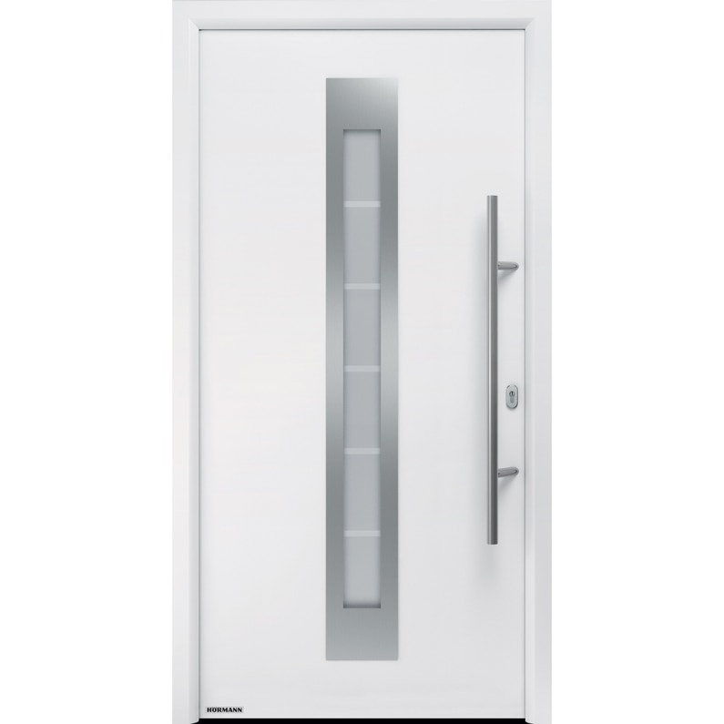 Porte D Entrée Acier Hormann Renodoor 2 H 215 X L 90 Cm Vitrée Blanc Pg