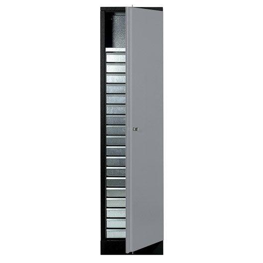 armoire de rangement en m tal gris clair kupper 45 5 cm 1 porte 18 tiroirs leroy merlin. Black Bedroom Furniture Sets. Home Design Ideas
