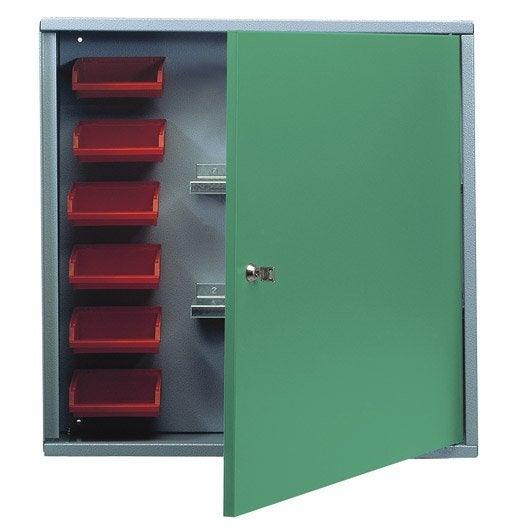 armoire de rangement avec 6 bo tes becs en m tal vert. Black Bedroom Furniture Sets. Home Design Ideas