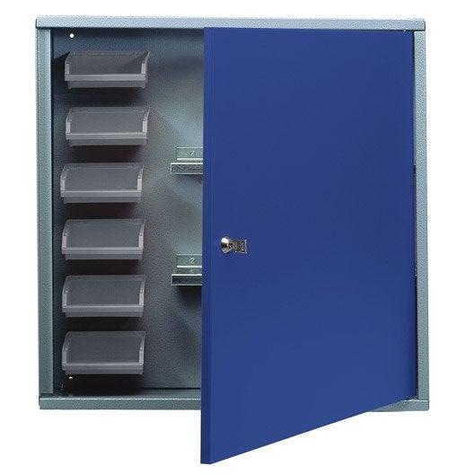 armoire de rangement avec 6 bo tes becs en m tal bleu. Black Bedroom Furniture Sets. Home Design Ideas
