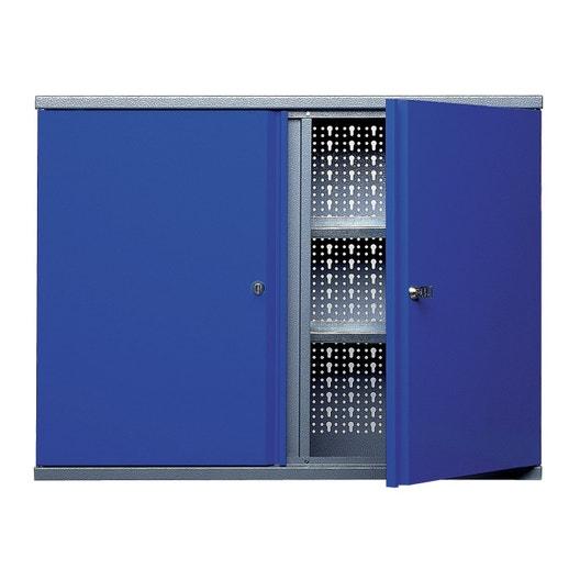 armoire de rangement 12 crochets en m tal bleu kupper 80 cm 2 portes leroy merlin. Black Bedroom Furniture Sets. Home Design Ideas