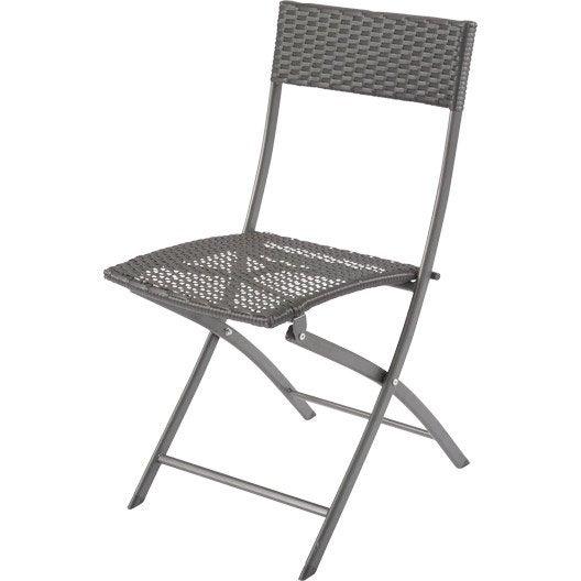 Chaise de jardin en r sine tress e rattan couleur noir leroy merlin - Chaise jardin resine tressee ...
