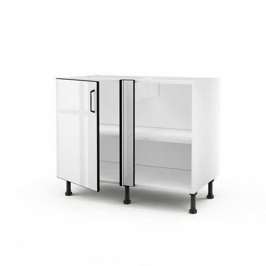 meuble de cuisine bas d 39 angle blanc 1 porte pop x x cm leroy merlin. Black Bedroom Furniture Sets. Home Design Ideas