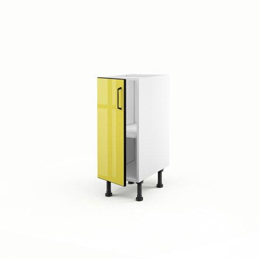 Meuble de cuisine bas jaune 1 porte pop x x for Meuble bas cuisine 30 cm largeur