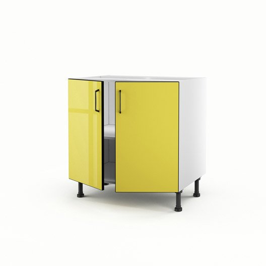 meuble de cuisine bas jaune 2 portes pop x x cm leroy merlin. Black Bedroom Furniture Sets. Home Design Ideas