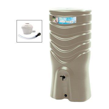 Récupérateur d'eau et collecteur aérien EDA rectangulaire taupe , 350 l