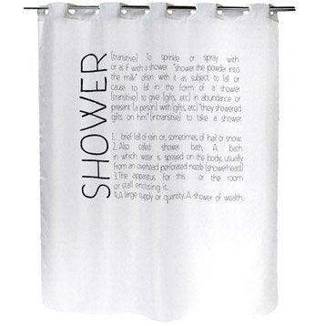 Rideau de douche en textile blanc-blanc n°0 l.180 x H.200 cm, Lexique SENSEA