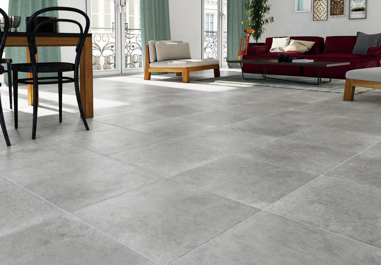 un carrelage gris grand carreau pour le salon leroy merlin. Black Bedroom Furniture Sets. Home Design Ideas