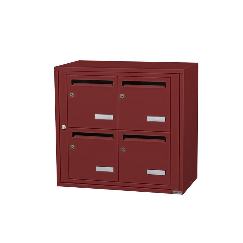 Boîte Aux Lettres Collective Intérieur Leaboxcom 2x2 Acier Rouge Brillant