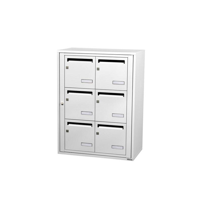 Boîte Aux Lettres Collective Intérieur Leaboxcom 2x3 Acier Blanc Brillant