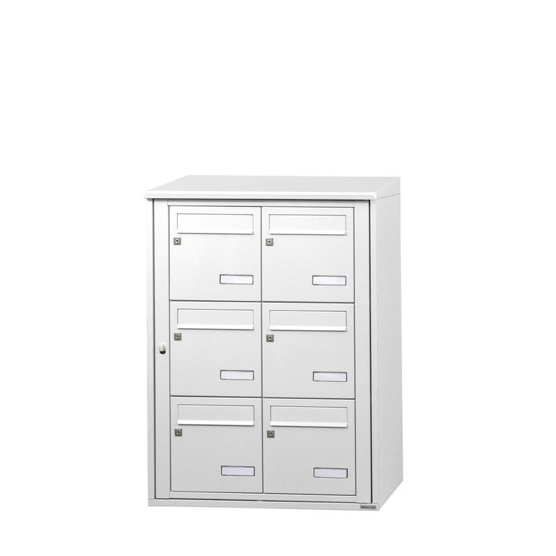 Boîte Aux Lettres Collective Extérieur Leaboxcom 2x3 Acier Blanc Brillant