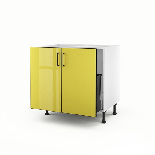 meuble de cuisine sous vier jaune 2 portes pop x x cm leroy merlin. Black Bedroom Furniture Sets. Home Design Ideas