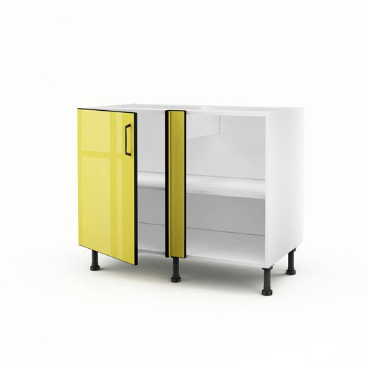 Meuble de cuisine bas d 39 angle jaune 1 porte pop for Meuble cuisine jaune