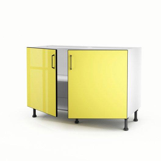 Meuble de cuisine sous vier jaune 2 portes pop for Meuble cuisine jaune